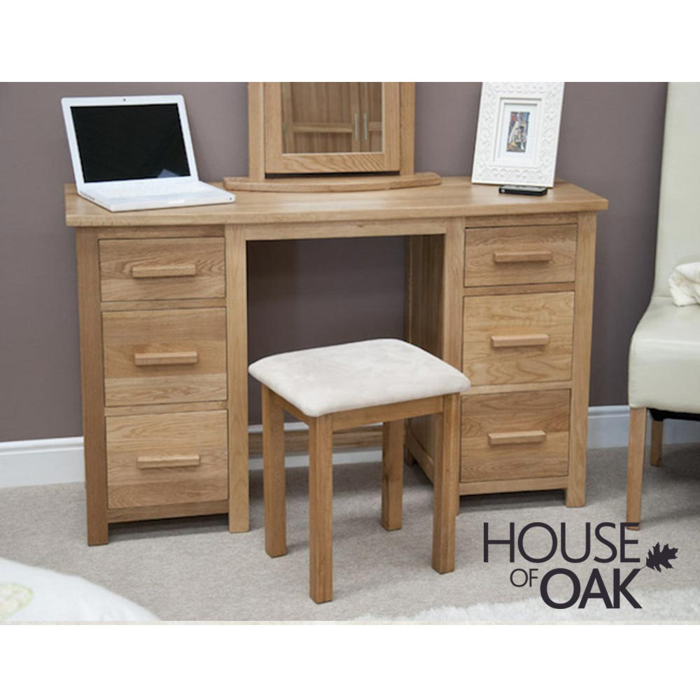 Opus Solid Oak Twin Pedestal Dressing Table with Stool