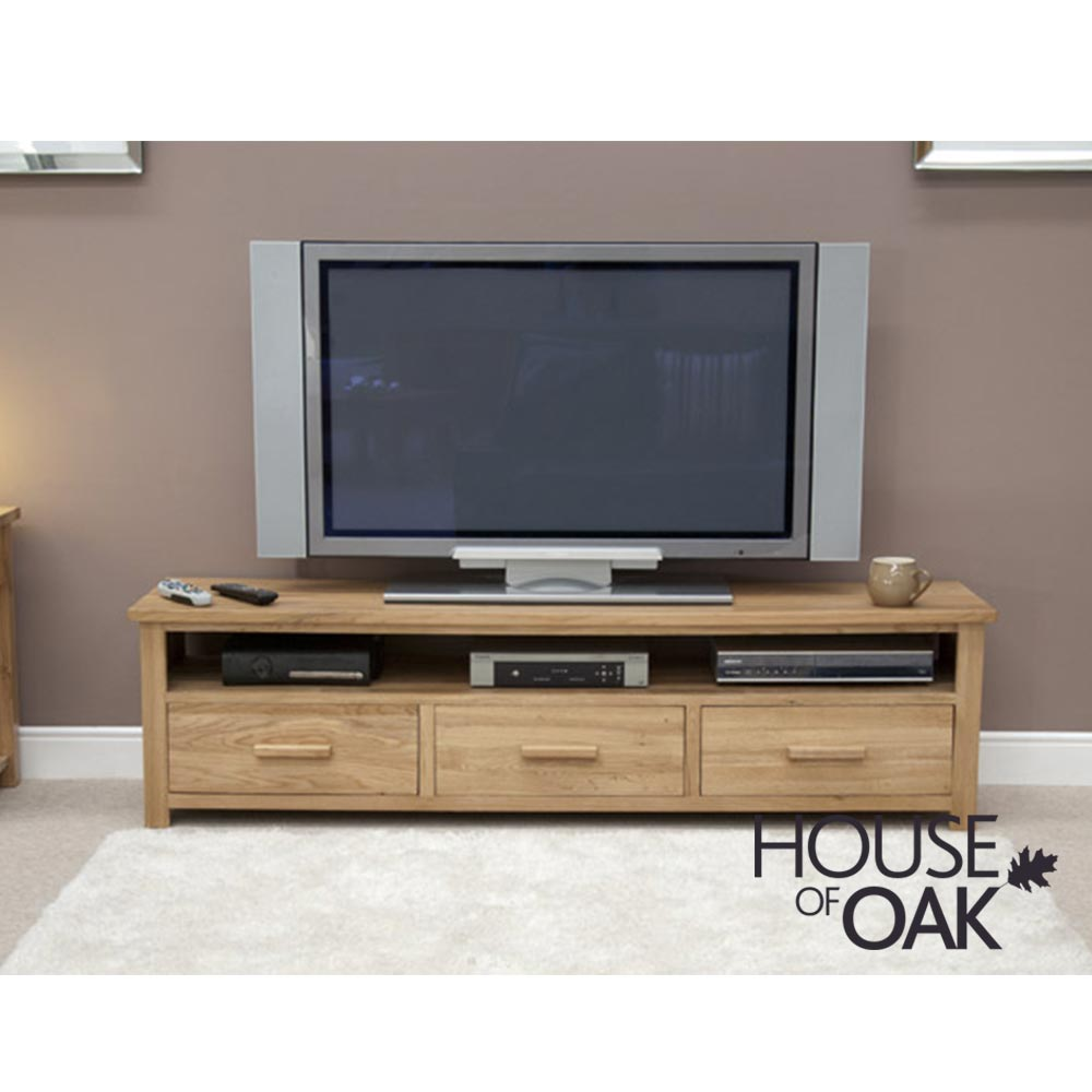 Opus Solid Oak Wide Plasma TV Stand