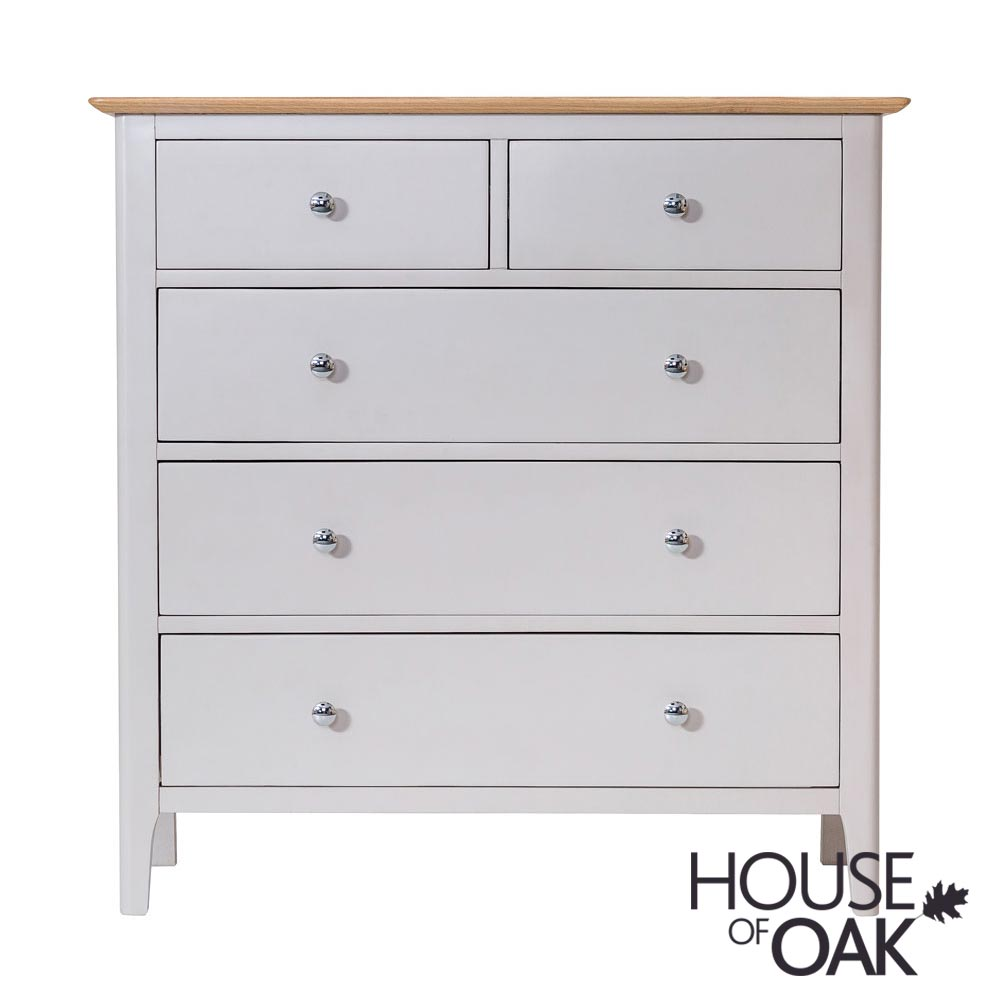 Oslo Oak 3+2 Drawer Chest in Dove Grey