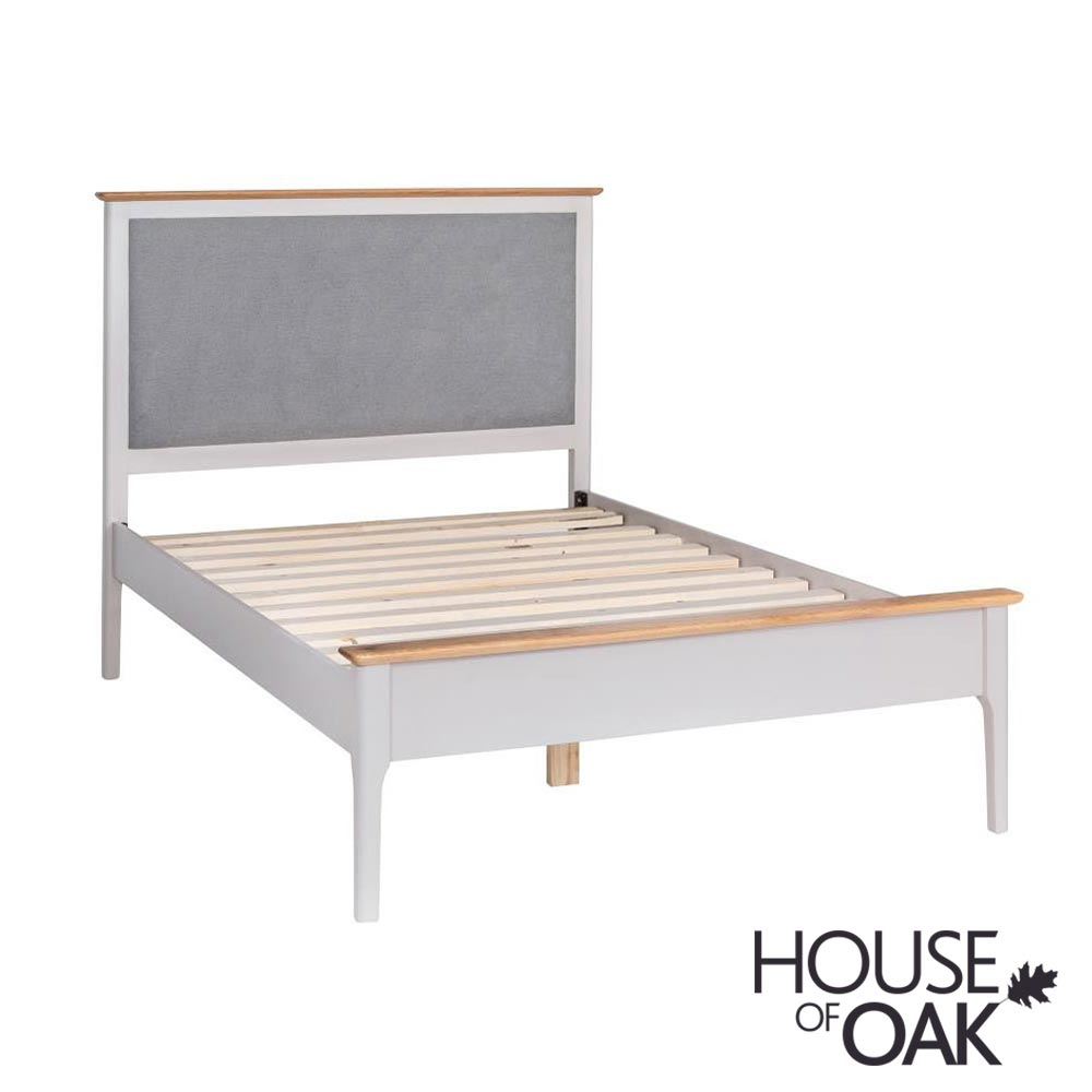 Oslo Oak 3FT Bed with Padded Headboard in Dove Grey