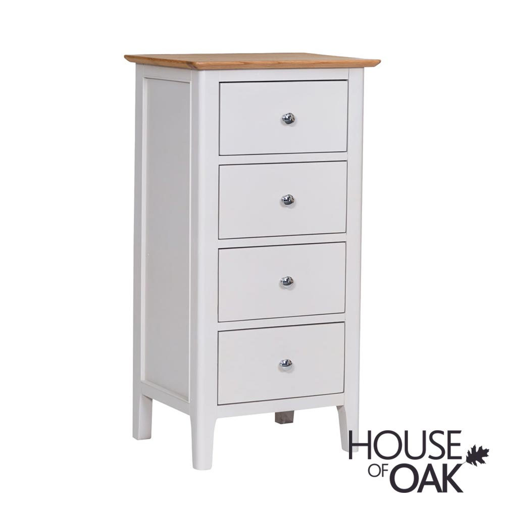 Oslo Oak 4 Drawer Narrow Chest in Dove Grey