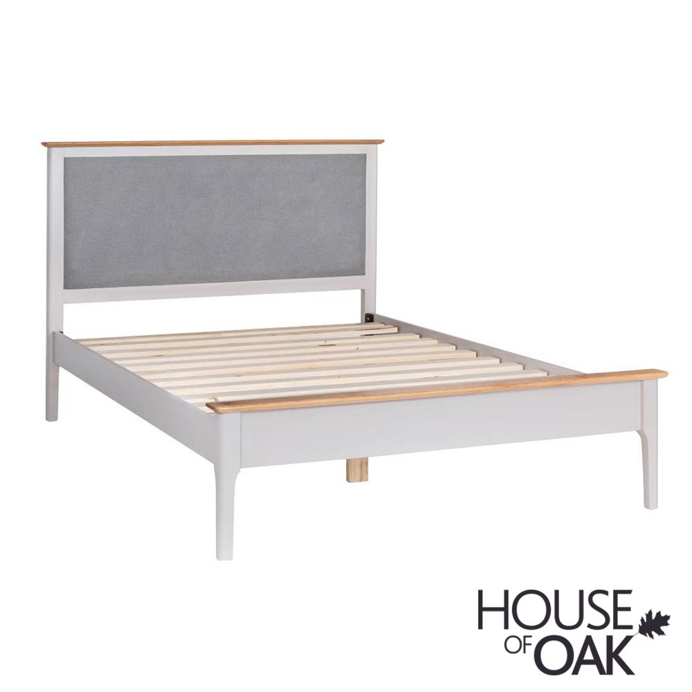 "Oslo Oak 4FT 6"" Bed with Padded Headboard in Dove Grey"