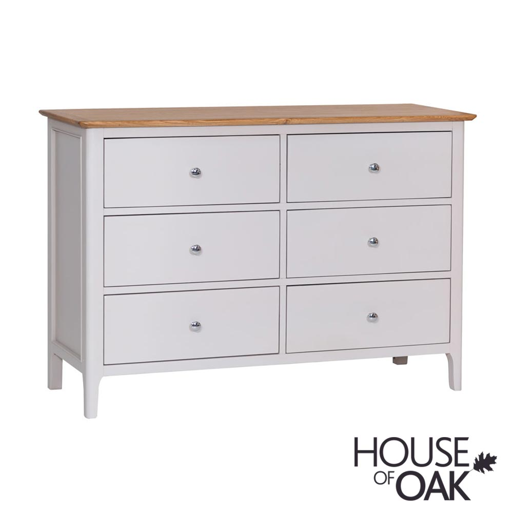 Oslo Oak 6 Drawer Chest in Dove Grey