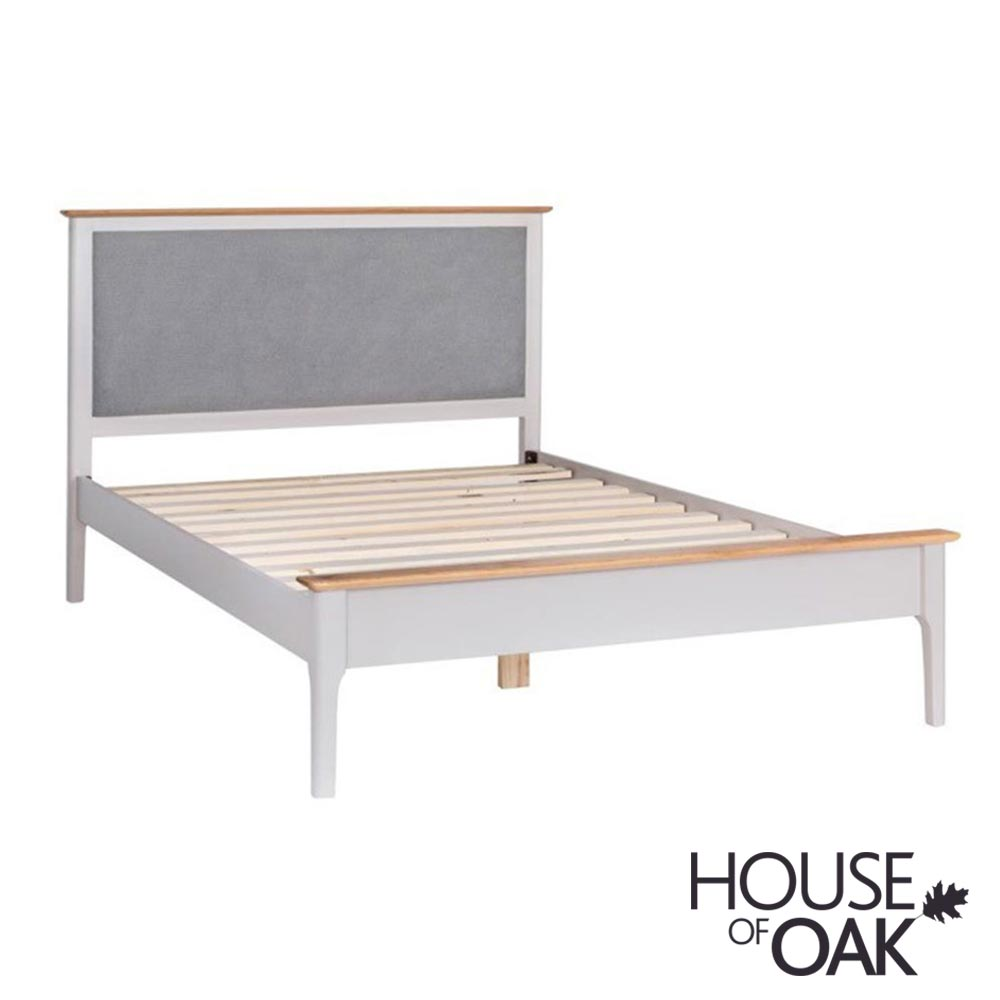 Oslo Oak 5FT Bed with Padded Headboard in Dove Grey