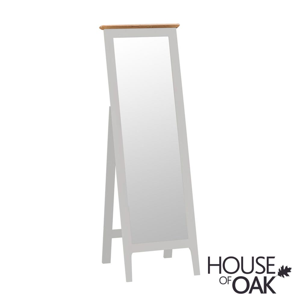 Oslo Oak Cheval Mirror in Dove Grey