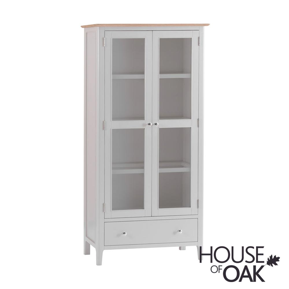 Oslo Oak Display Cabinet With Lights in Dove Grey