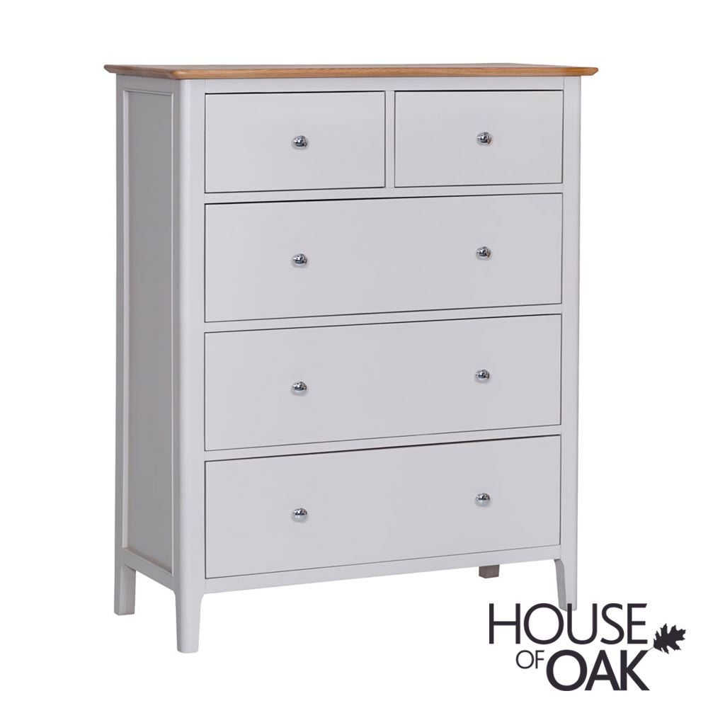 Oslo Oak Jumbo 3+2 Drawer Chest in Dove Grey