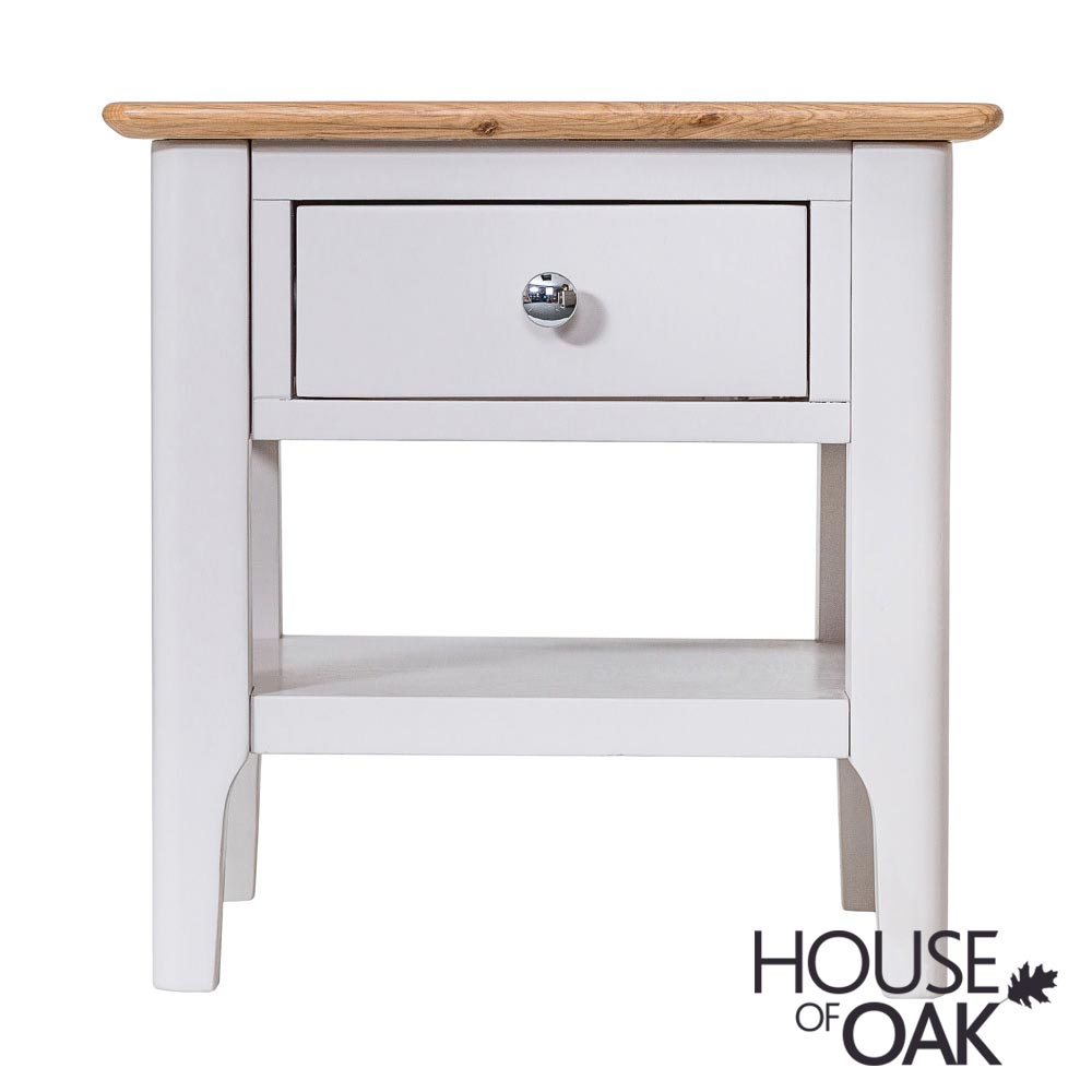 Oslo Oak Lamp Table in Dove Grey