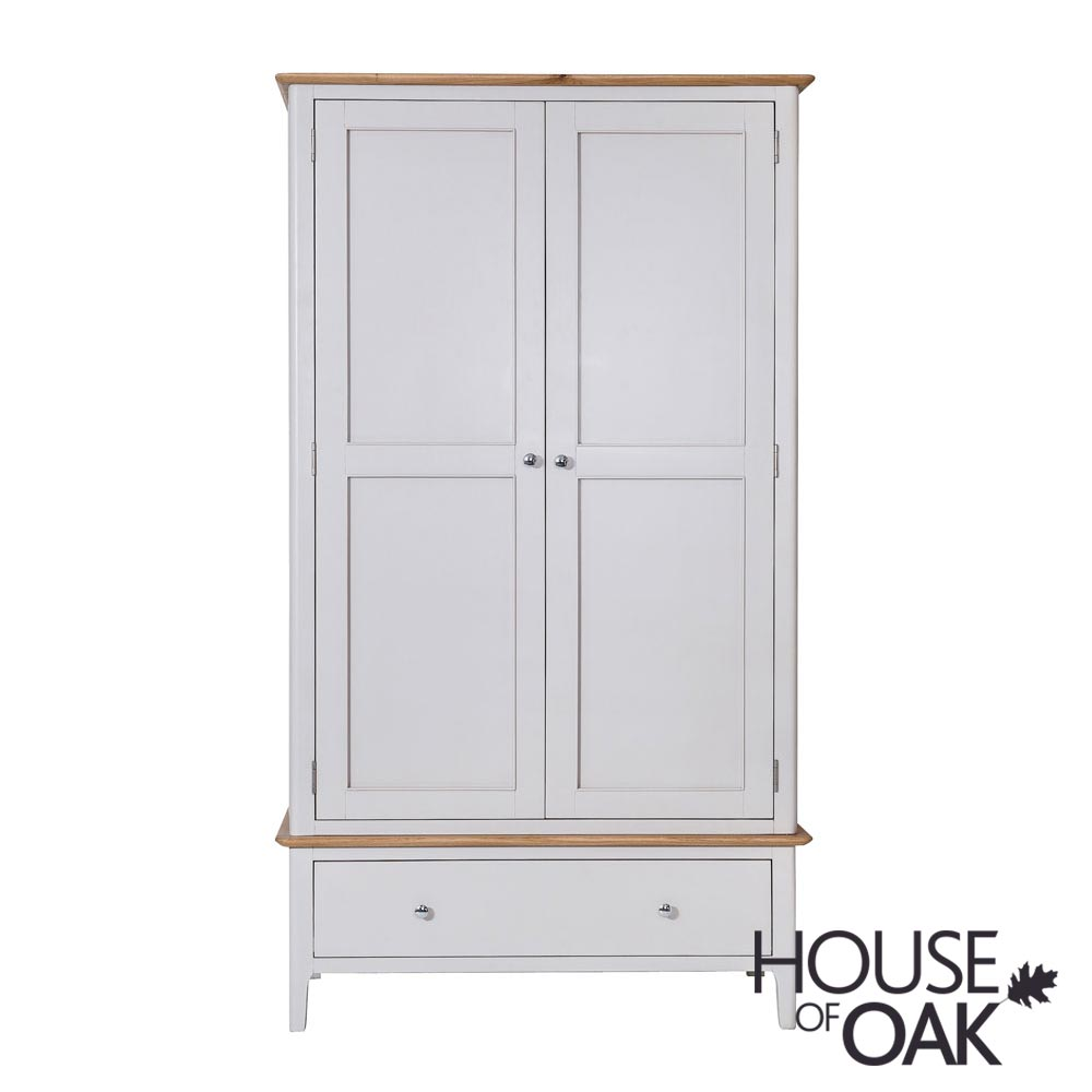 Oslo Oak Large 2 Door 1 Drawer Wardrobe in Dove Grey