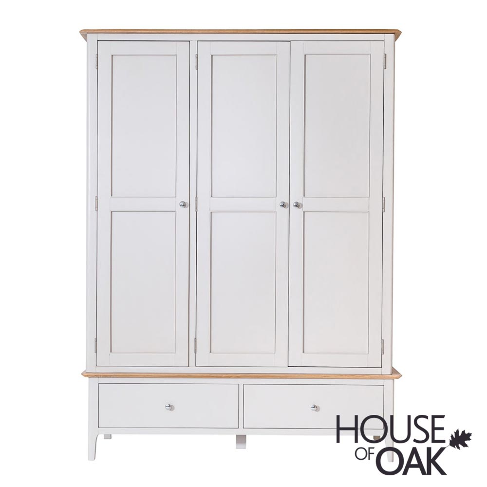 Oslo Oak Large 3 Door 2 Drawer Wardrobe in Dove Grey