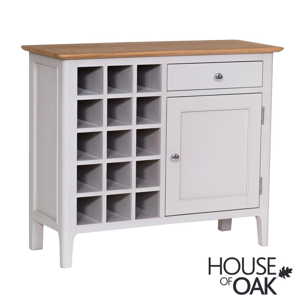 Oslo Oak Wine Cabinet in Dove Grey