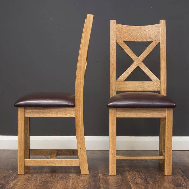 Oxford Oak Dining Chair with Faux Leather Seat