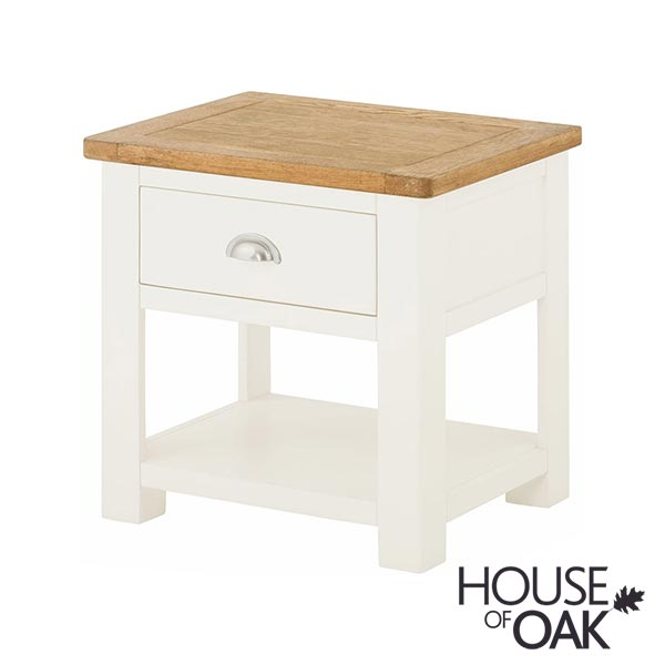 Portman Painted Lamp Table With Drawer in White