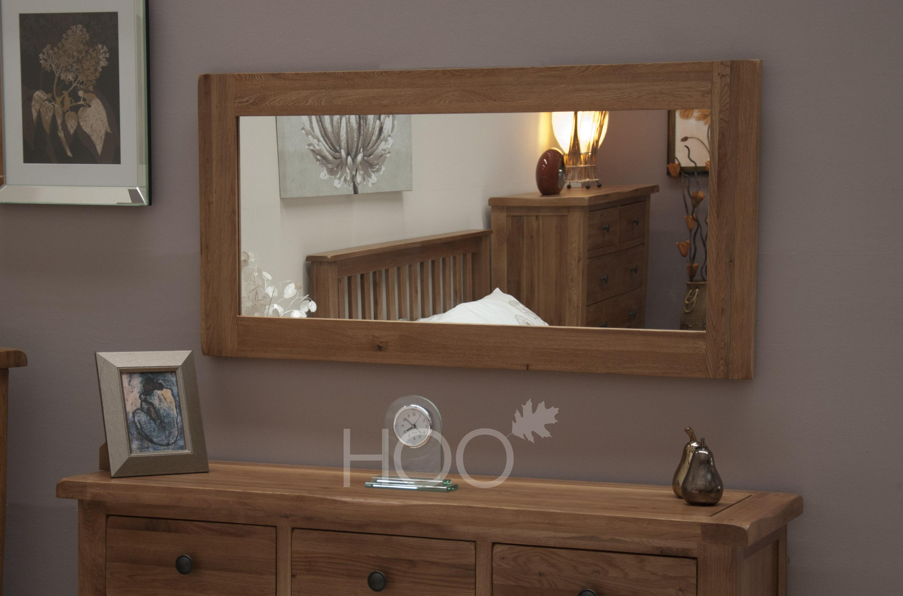 Rustic Solid Oak Large Mirror
