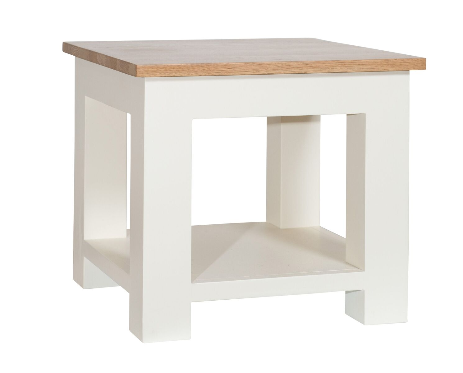 Simply Oak in Cream Lamp Table With Shelf