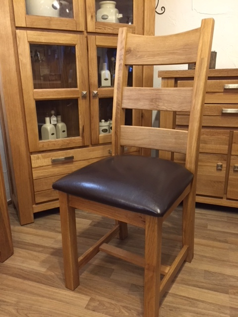 PU Leather Seat Oak Chair