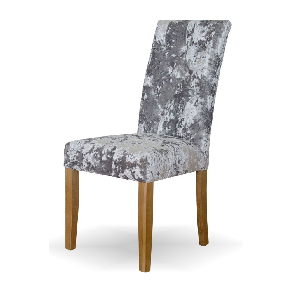 Stockholm Crushed Silver Velvet Button Back Chair