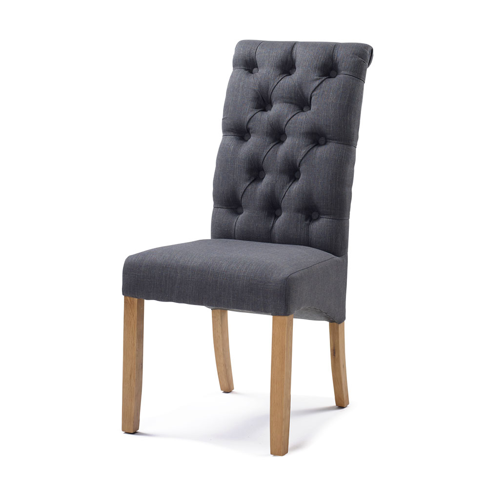 Bedroom Upholstery Straight Top Chair in Carbon Black