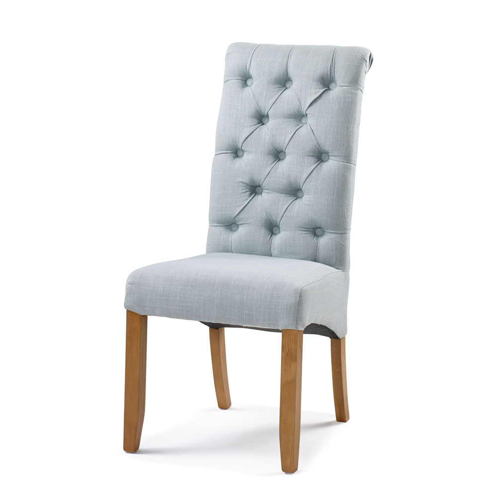 Bedroom Upholstery Straight Top Chair in Duck Egg