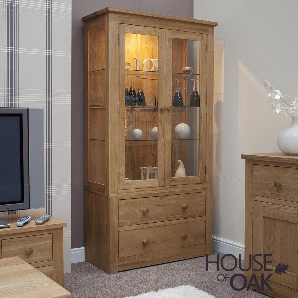 Torino Solid Oak Large Glass Display Cabinet