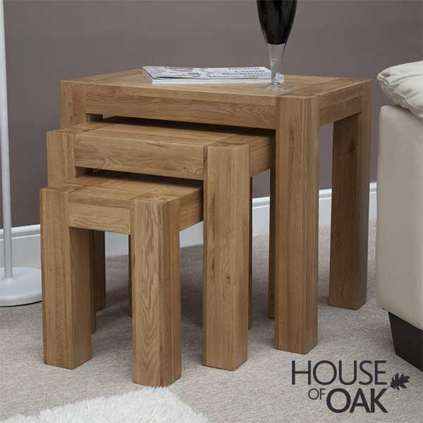 Pandora Solid Oak Nest of Tables