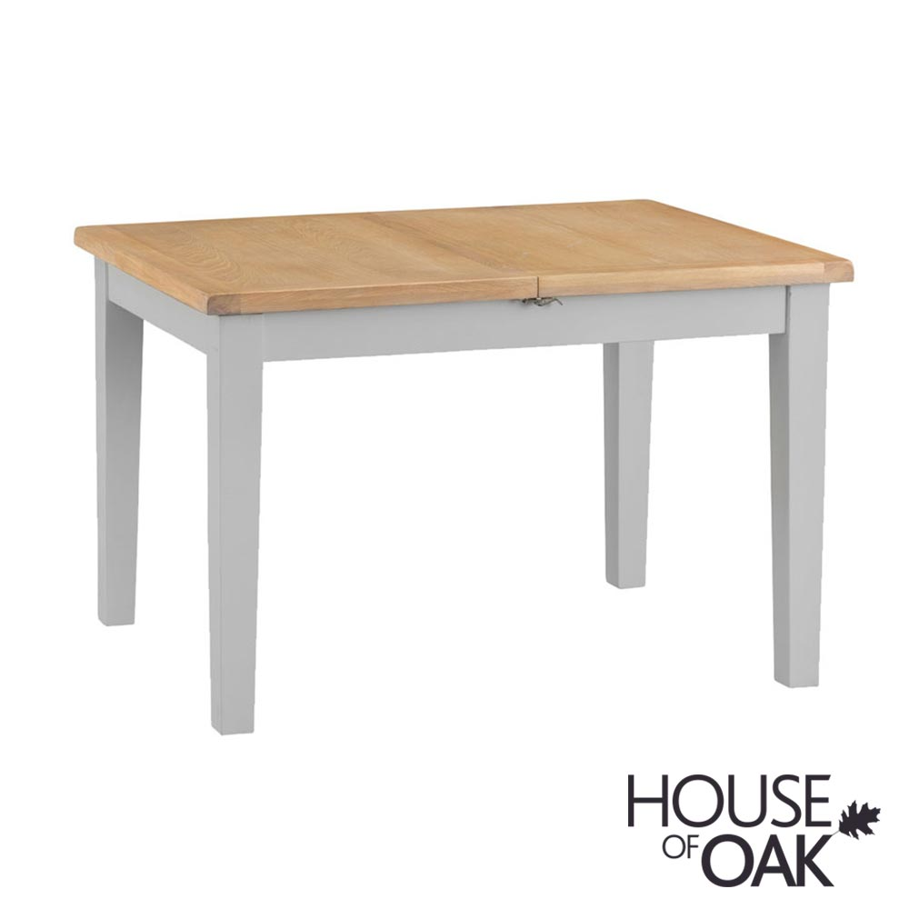 Florence Oak 1.2m Butterfly Extending Table - Grey Painted