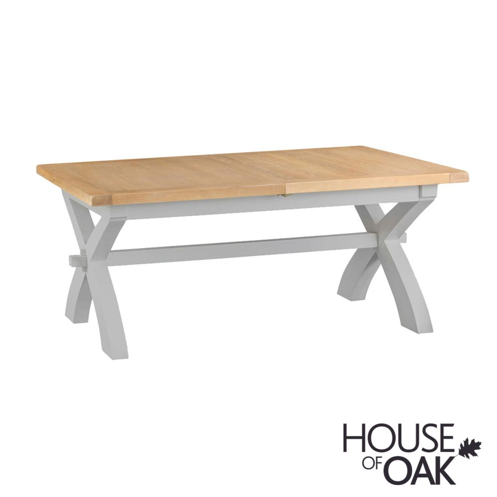 Florence Oak 1.8m Cross Leg Extending Table - Grey Painted