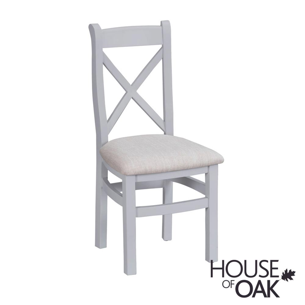 Florence Oak Cross Back Chair Fabric Seat - Grey Painted