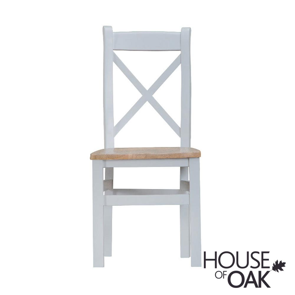 Florence Oak Cross Back Chair Wooden Seat - Grey Painted