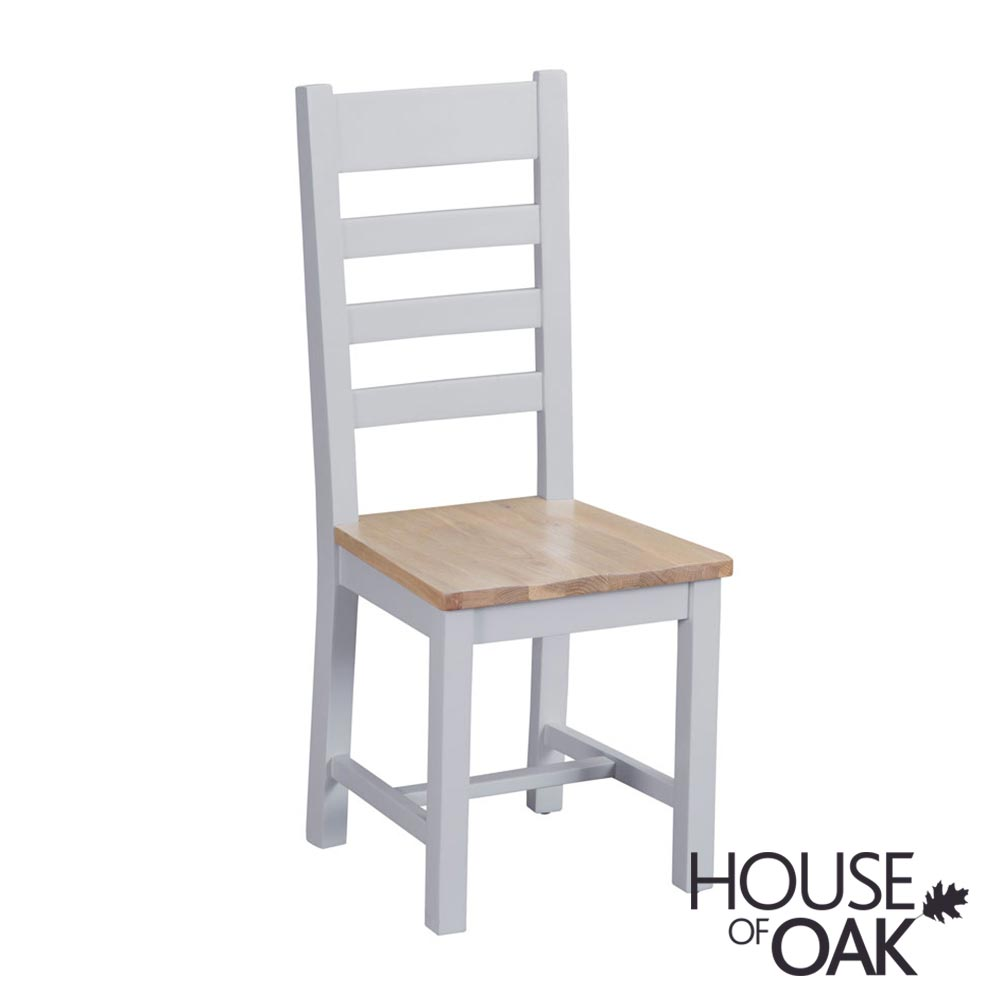 Florence Oak Ladder Back Chair Wooden Seat - Grey Painted