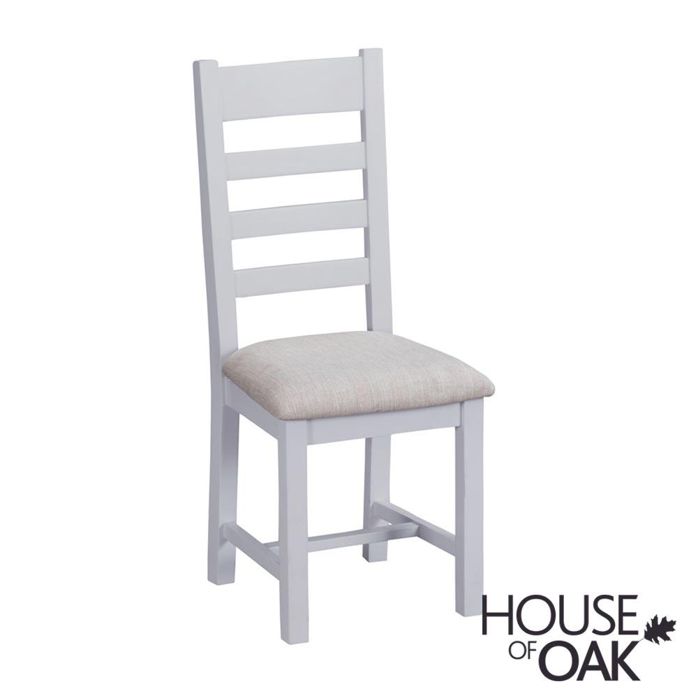 Florence Oak Ladder Back Chair Fabric Seat - Grey Painted
