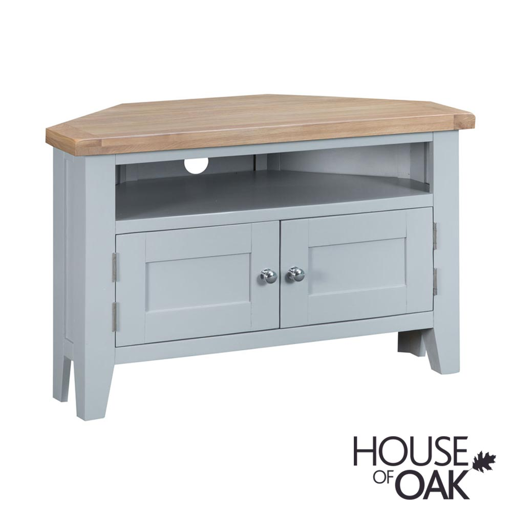 Florence Oak Corner TV Unit - Grey Painted