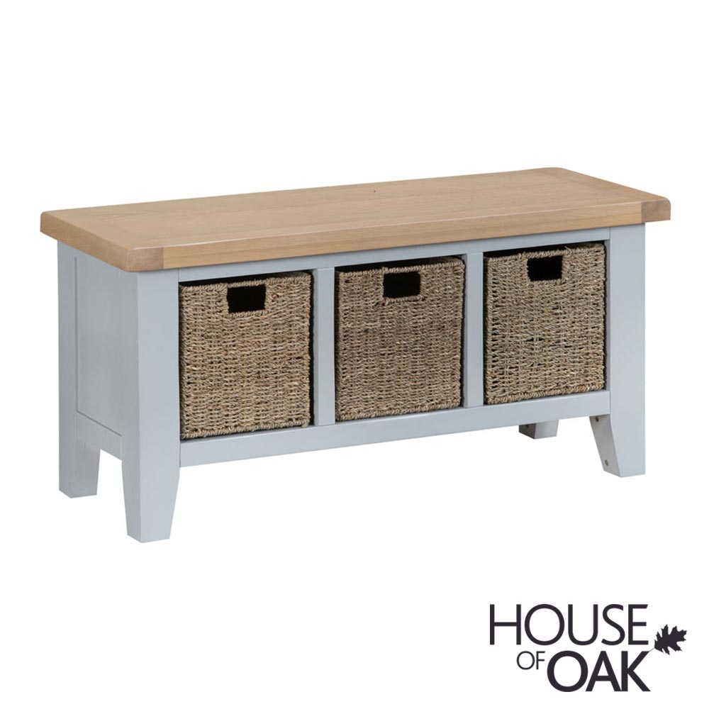 Florence Oak Large Hall Bench - Grey Painted