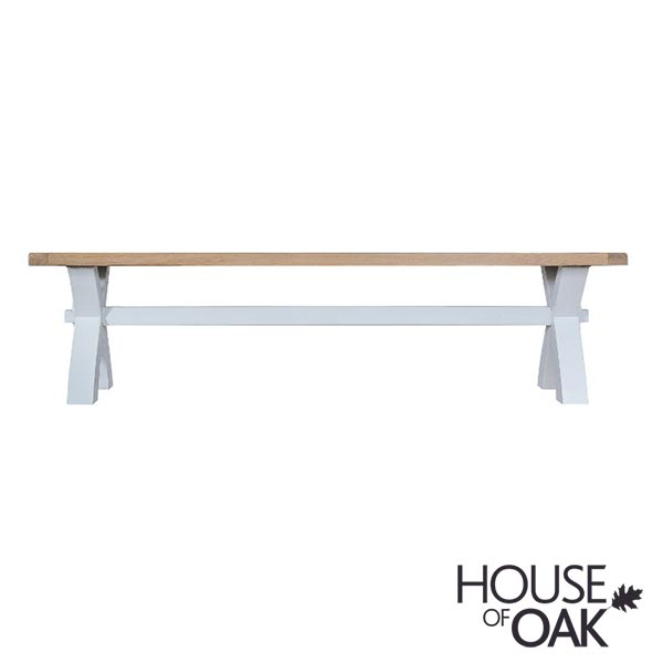 Florence Oak Small Cross Leg Bench - Grey Painted