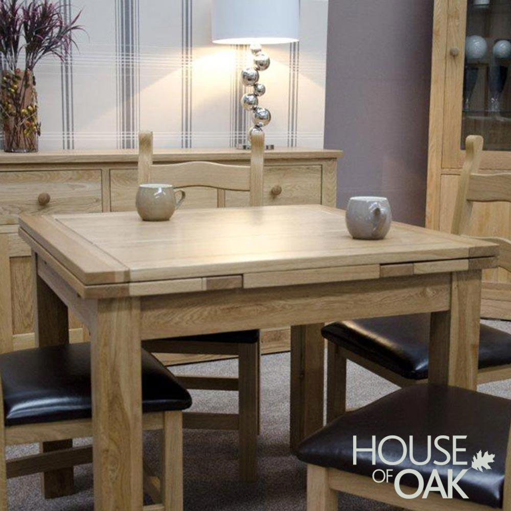 Opus Solid Oak Small Drawer Leaf Extending Table