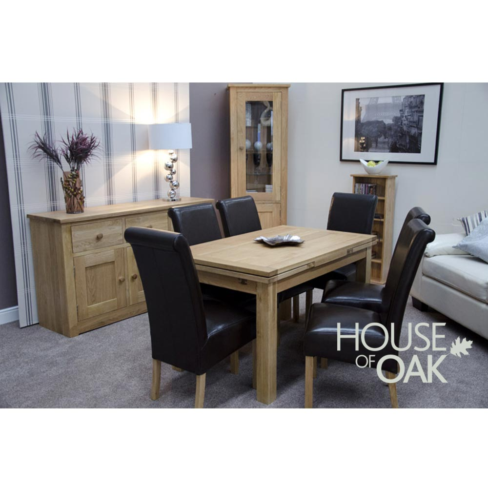 Opus Solid Oak Medium Drawer Leaf Extending Table