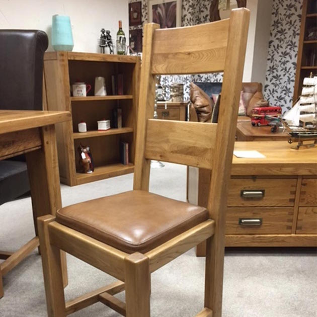 Wentworth (Montana) Dining Chair in Nibbed Oak Riders Nut Leather Pad
