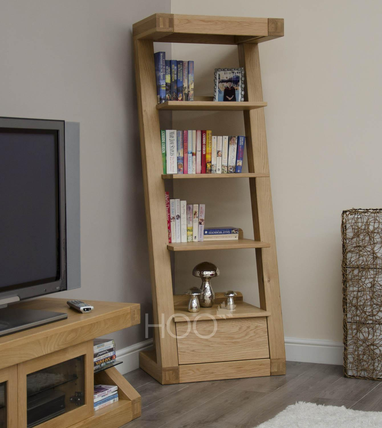 Z Oak 1 Drawer Narrow Bookcase