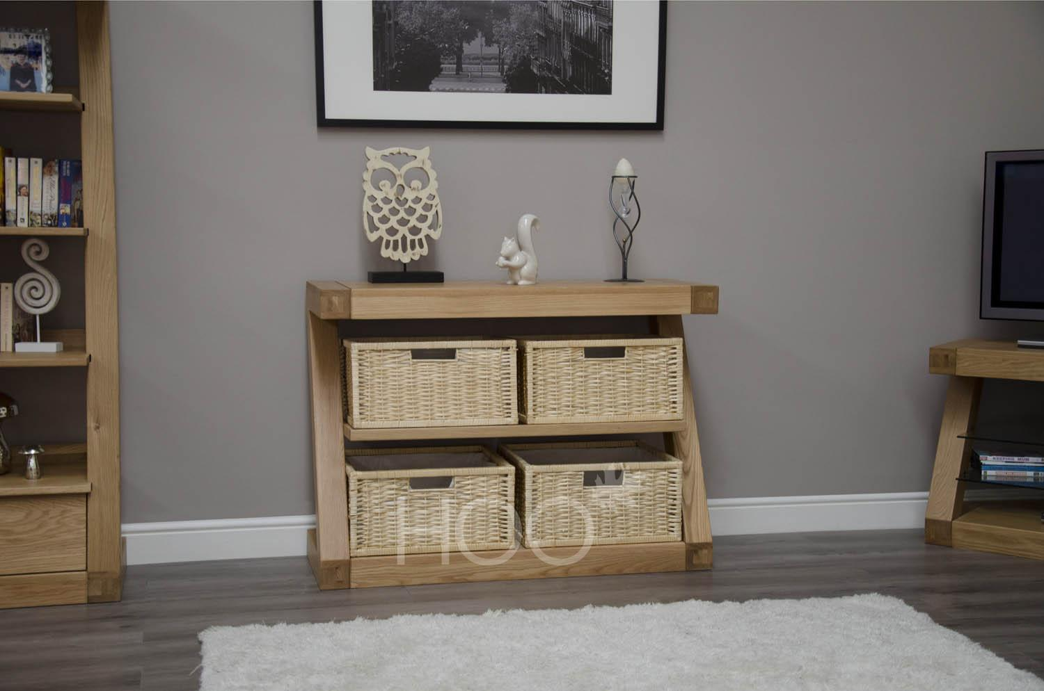 Z Oak Basket Console Table