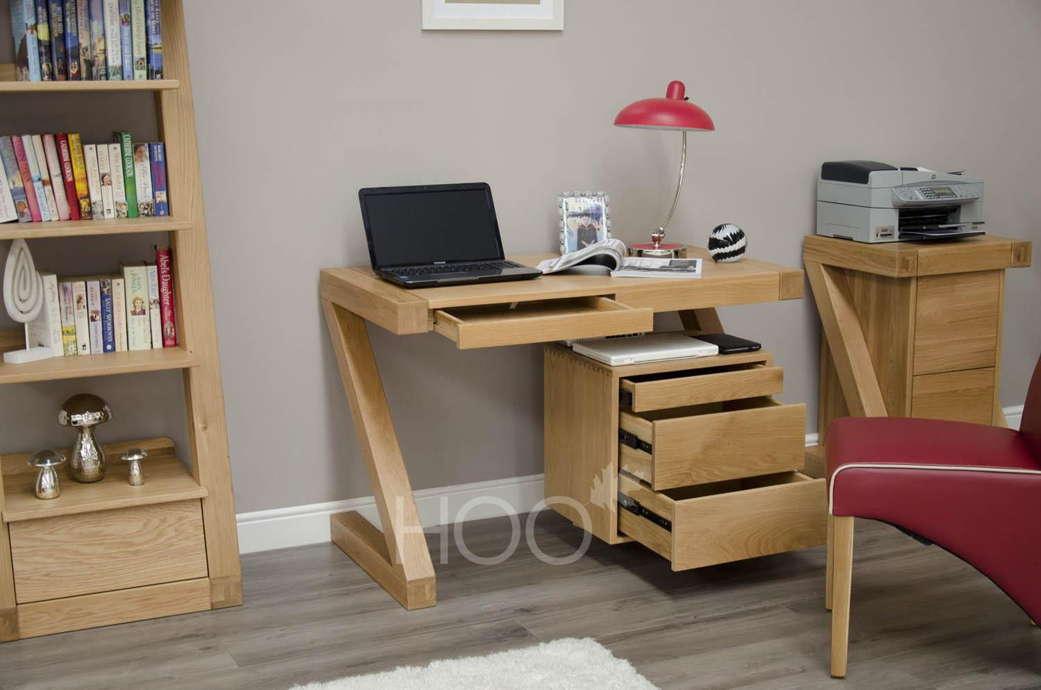 Z Oak Small Computer Desk