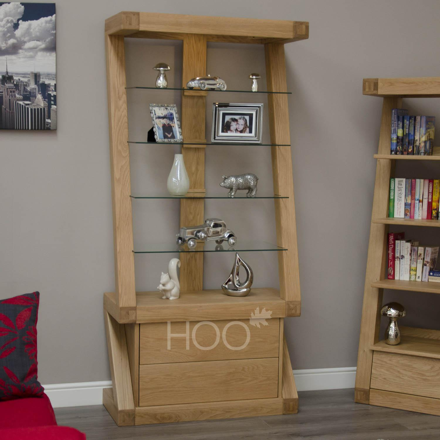 Z Oak Glass Display Unit