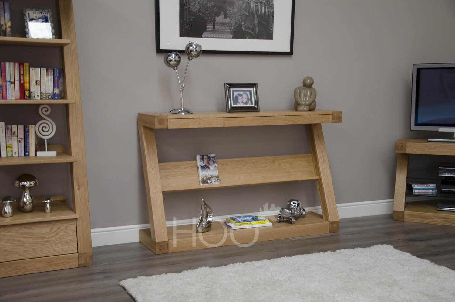 Z Oak Wide Console with Shelf
