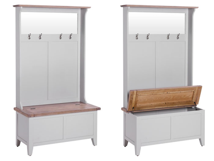 New Hampshire Chalked Oak & Light Grey Hall Unit With Coat Hooks